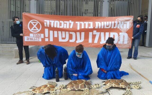 פעילות המרד בהכחדה שלי שניידרמן, כרמל איזנר ונופר שמיר בפעולה מול משרד האנרגיה (צילום: ארז חרודי)