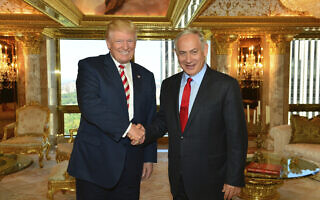 """בנימין נתניהו מבקר את דונלד טראמפ בדירתו בניו יורק, 25 בספטמבר 2016 (צילום: קובי גדעון/לע""""מ)"""