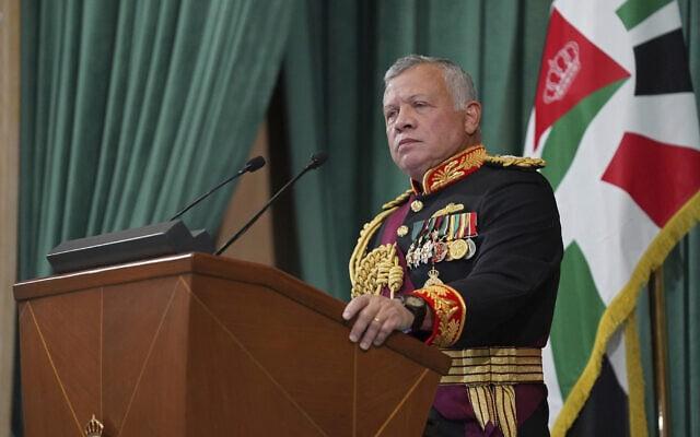 עבדאללה מלך ירדן נואם בפרלמנט בעמאן, 10 בדצמבר 2020 (צילום: Yousef Allan/The Royal Hashemite Court via AP)
