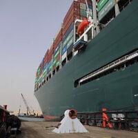 ספינת המטען Ever Given תקועה בתעלת סואץ, 25 במרץ 2021 (צילום: Suez Canal Authority via AP))