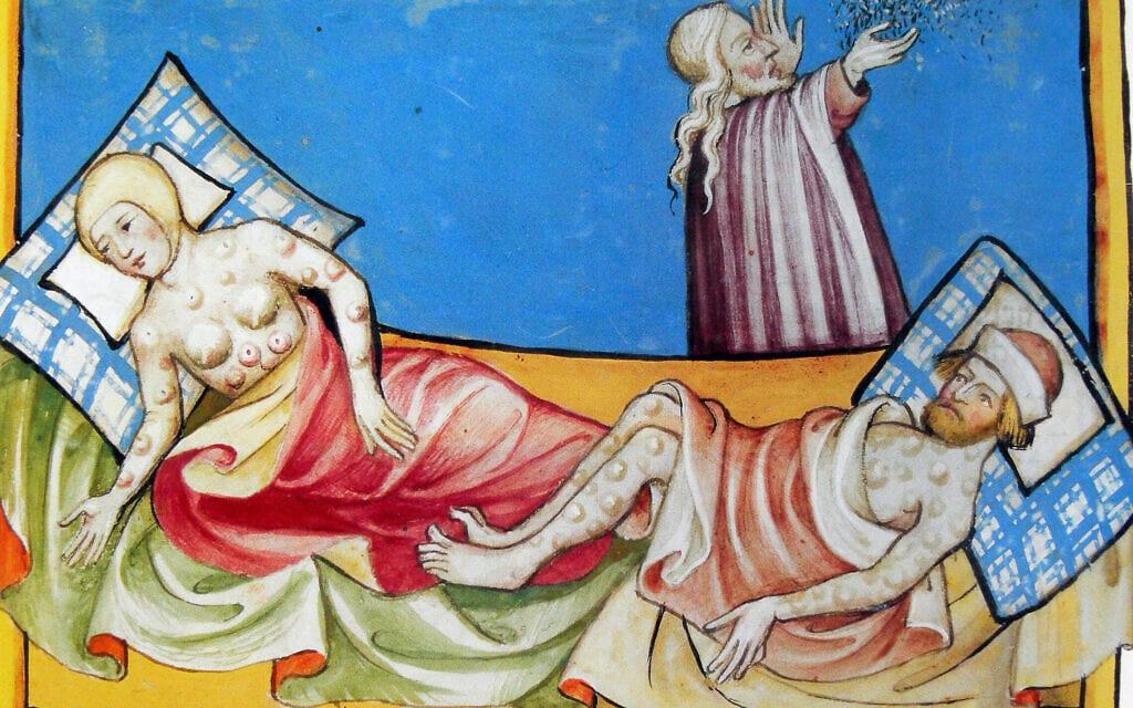 """מכת שחין, מיניאטורה מתוך תנ""""ך טוגנבורג, שוויץ, 1411, Kupferstichkabinett, Staatliche Museen"""