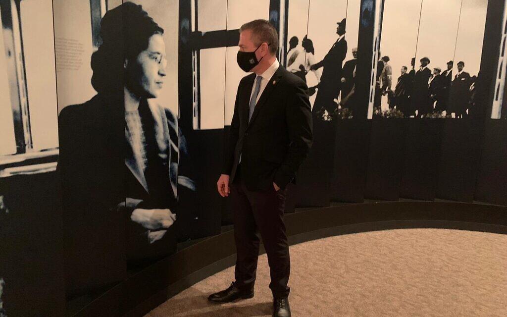 גלעד ארדן במוזאון רוזה פארקס, 24 בפברואר 2021 (צילום: חשבון הטוויטר של גלעד ארדן)