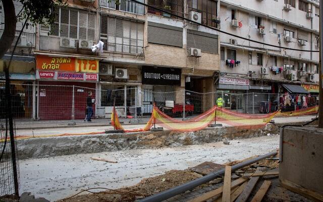 העבודות על הרכבת בשדרות ירושלים בפברואר 2020 (צילום: מרים אלסטר/פלאש90)
