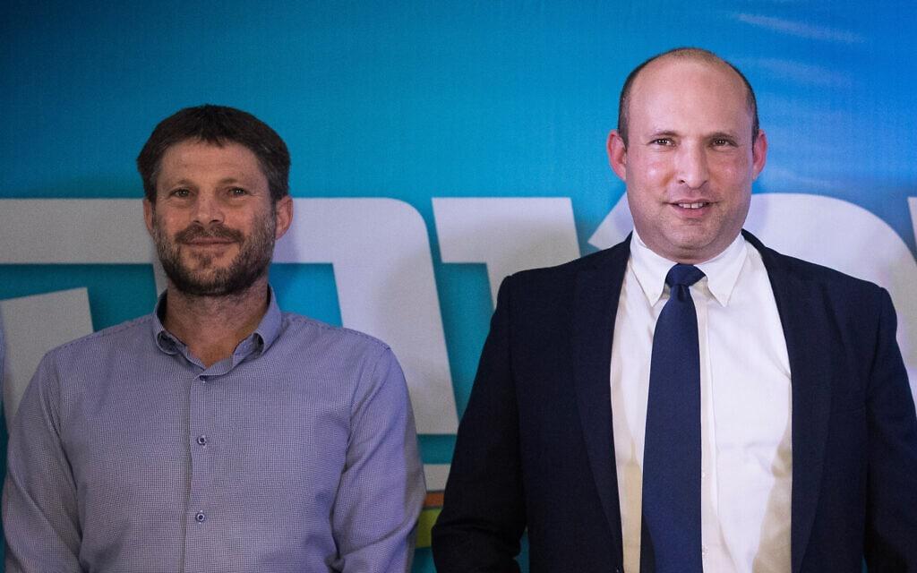 נפתלי בנט ובצלאל סמוטריץ' במסיבת עיתונאים בירושלים, ב-14 במאי 2020 (צילום: יונתן זינדל/פלאש90)