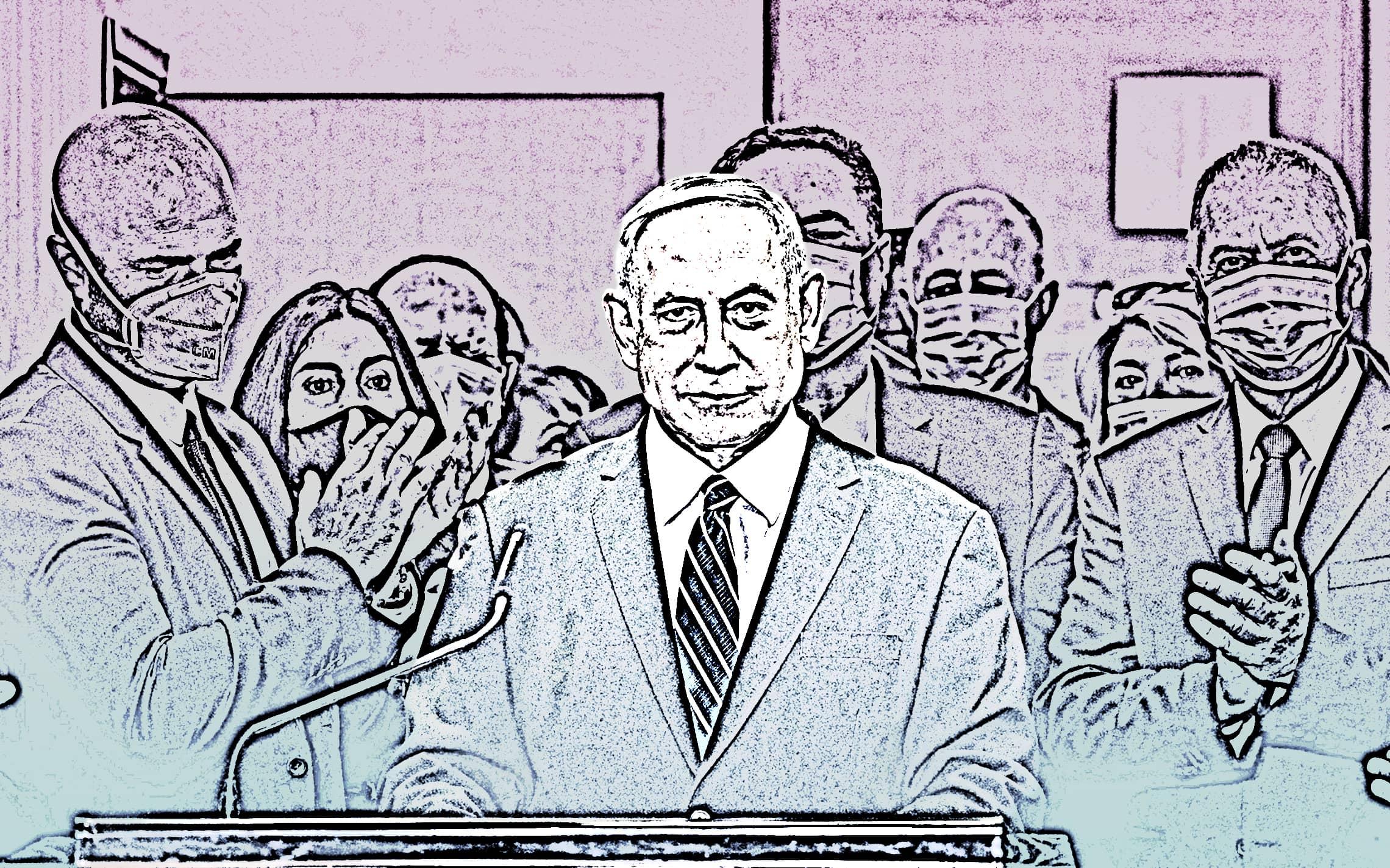 בנימין נתניהו מוקף בשרי הליכוד בבית המשפט המחוזי בירושלים, ביום פתיחת משפטו הפלילי. 24 במאי 2021 (צילום: יונתן זינדל/פלאש90, עיבוד מחשב)
