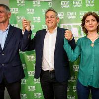 תמר זנדברג, ניצן הורוביץ ויאיר גולן במטה מרצ בליל הבחירות, 23 במרץ2021 (צילום: פלאש90)