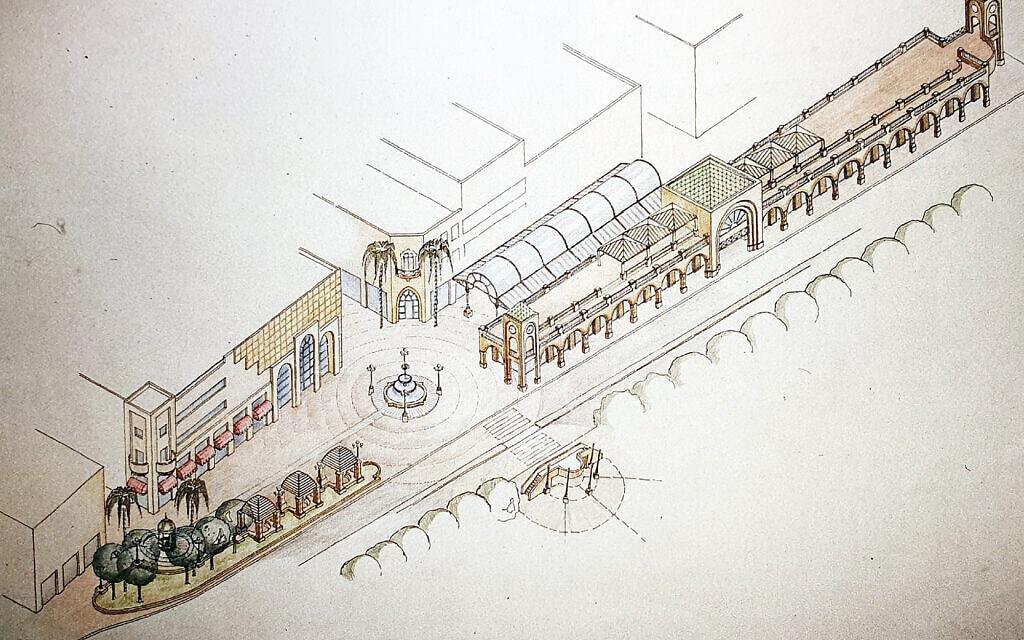 """התכנון של מדרחוב בת עמי ביפו על ידי האדריכל קלמן כץ ב-1990, מתוך הספר של ורד נבון """"השדרה: 100 שנים לשדרות ירושלים"""""""