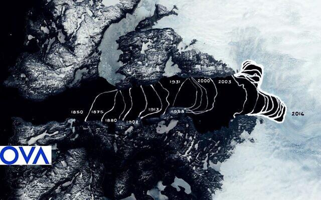 נסיגת קצה קרחון יעקובסון בשנים 1850 – 2016
