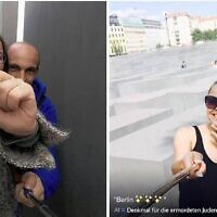 צילומים בוויינט מתוך אתר יולוקוסט, פרויקט של האמן הישראלי-גרמני שחק שפירא שאסף צילומי סלפי מאנדרטת השואה בברלין http://yolocaust.de/