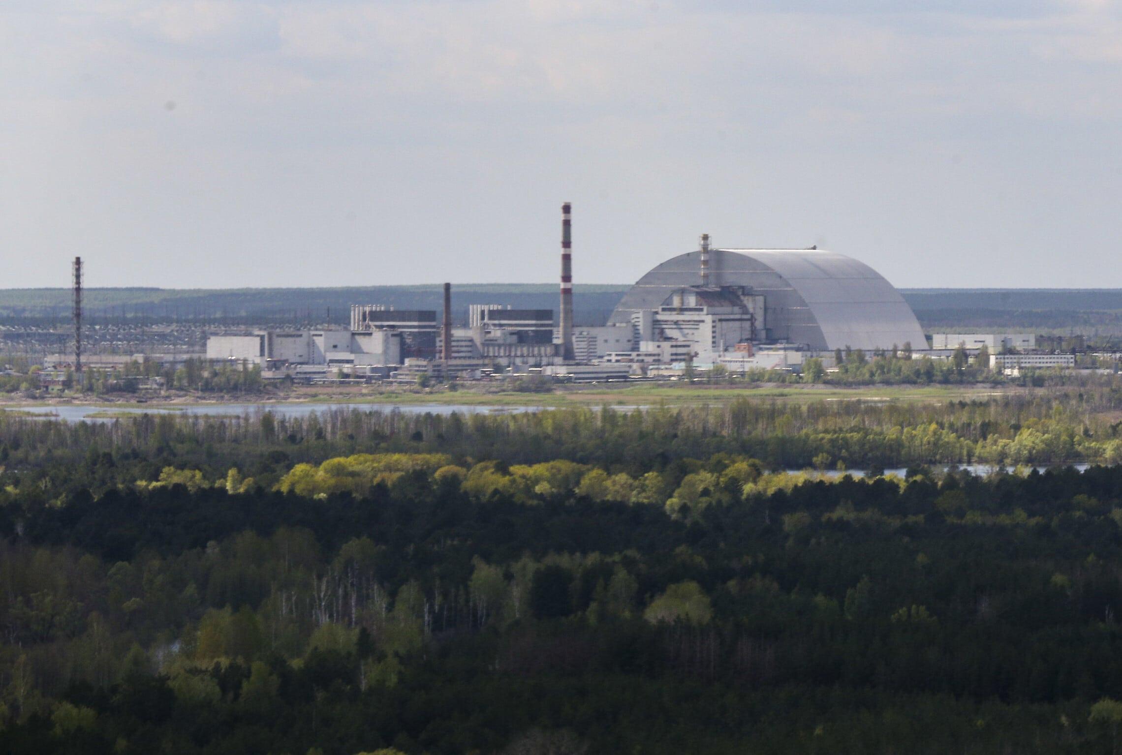 מבט אווירי על תחנת הכוח הגרעינית בצ'רנוביל, 26 באפריל 2018 (צילום: Mykhailo Markiv /Presidential Press Service Pool Photo via AP)