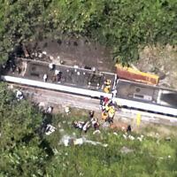תאונת רכבת בטאיוואן, 2 באפריל 2021 (צילום: National Fire Agency Department via AP)
