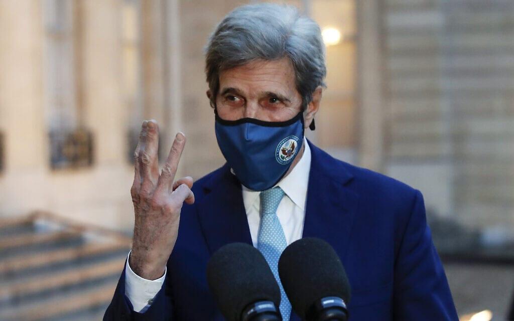 ג'ון קרי, השליח המיוחד של ממשל ביידן לענייני משבר האקלים (צילום: AP Photo/Michel Euler)