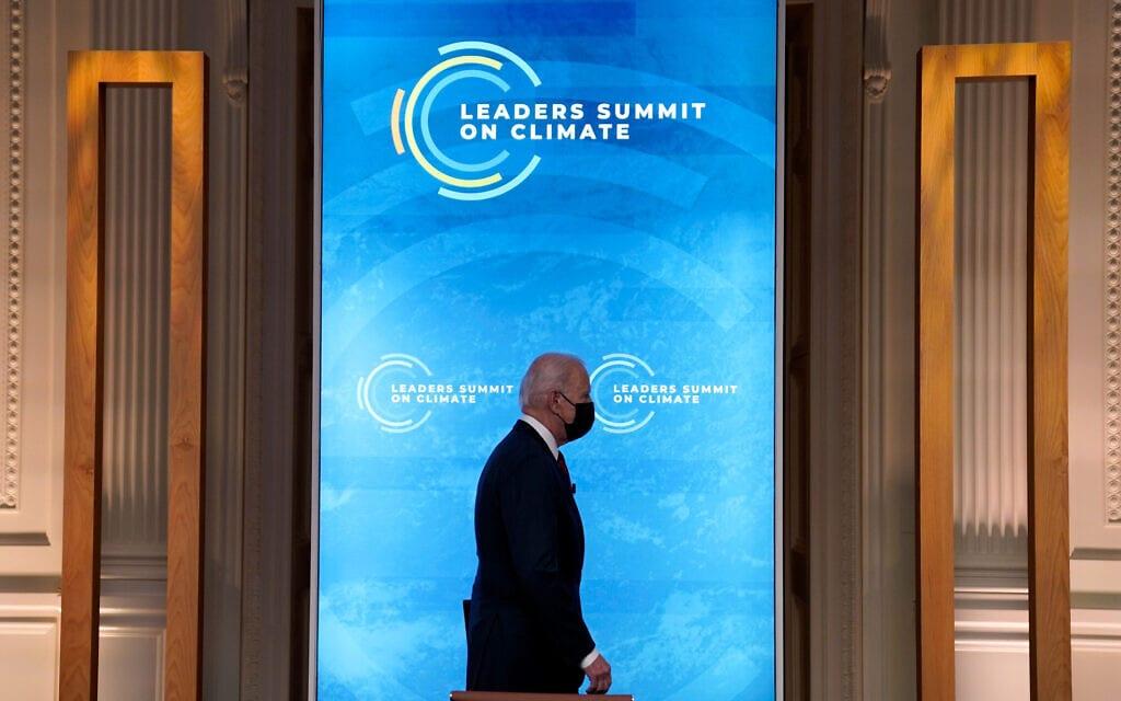 ג'ו ביידן פותח את ועידת האקלים הגלובלית, 22 באפריל 2021 (צילום: AP Photo/Evan Vucci)