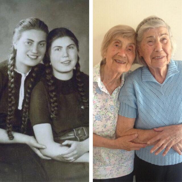 האחיות בטקה וקטקה קוהוט ב-1941 וב-2013 (צילום: באדיבות טום ארטון)