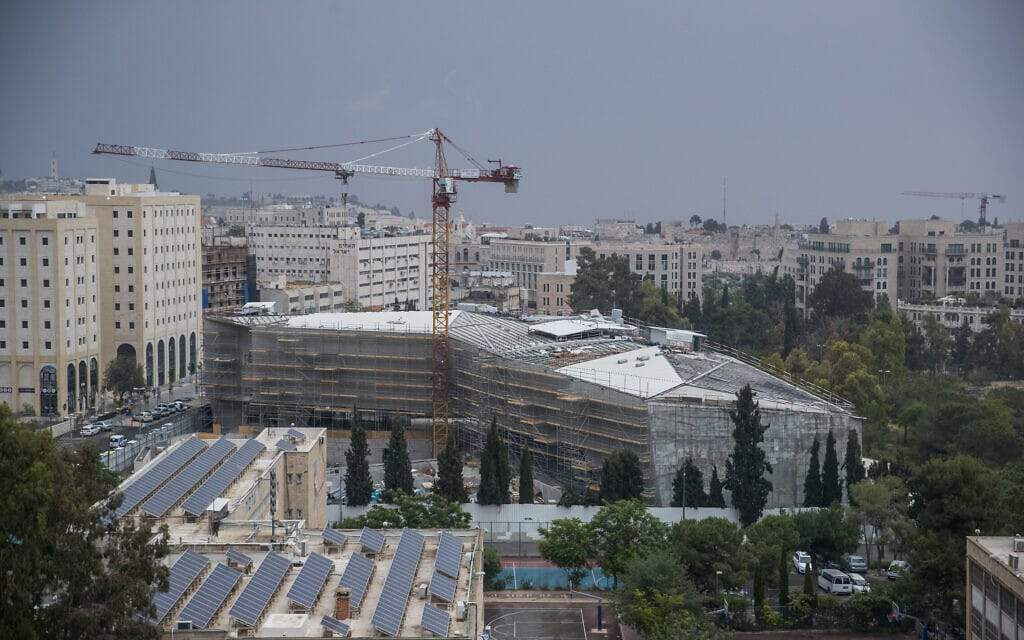 המוזאון לסובלנות בירושלים בשלבי בנייה, מאי 2018 (צילום: יונתן זינדל/פלאש90)