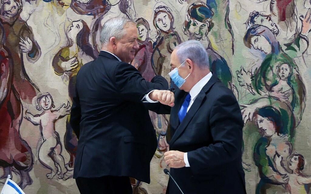 בנימין נתניהו ובני גנץ בישיבת הממשלה ב-21 ביוני 2020 (צילום: Marc Israel Sellem/POOL)