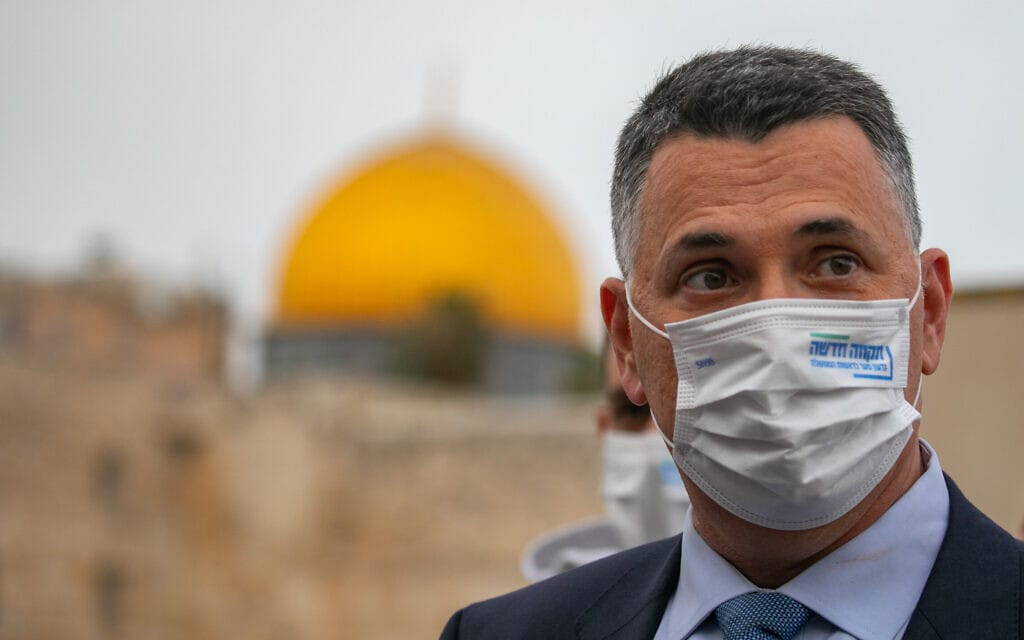 גדעון סער בירושלים יום לפני הבחירות, 22 במרץ 2021 (צילום: אוליבייה פיטוסי/פלאש90)
