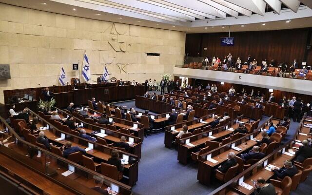 מליאת הכנסת בישיבת הפתיחה של הכנסת ה-24, 6 באפריל 2021 (צילום: Alex Kolomoisky/POOL)