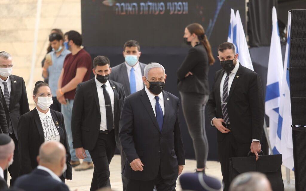 """ראש הממשלה בנימין נתניהו  טקס יום הזיכרון ב""""יד לבנים"""" בירושלים, 13 באפריל 2021 (צילום: מארק ישראל סאלם / פלאש 90)"""