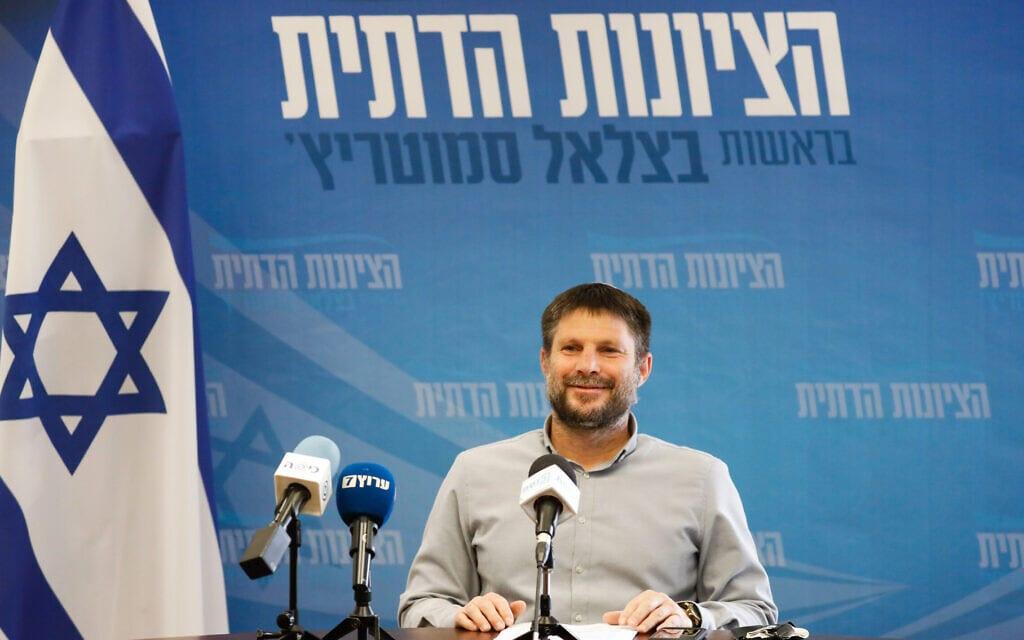 יושב ראש הציונות הדתית בצלאל סמוטריץ' בישיבת סיעתו בכנסת, 19 באפריל 2021 (צילום: אוליבייה פיטוסי, פלאש 90)