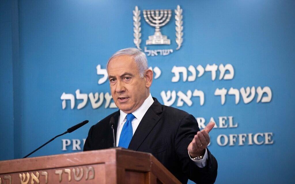 ראש הממשלה בנימין נתניהו נושא דברים במשרד ראש הממשלה בירושלים, 20 באפריל 2021 (צילום: יונתן זינדל, פלאש 90)