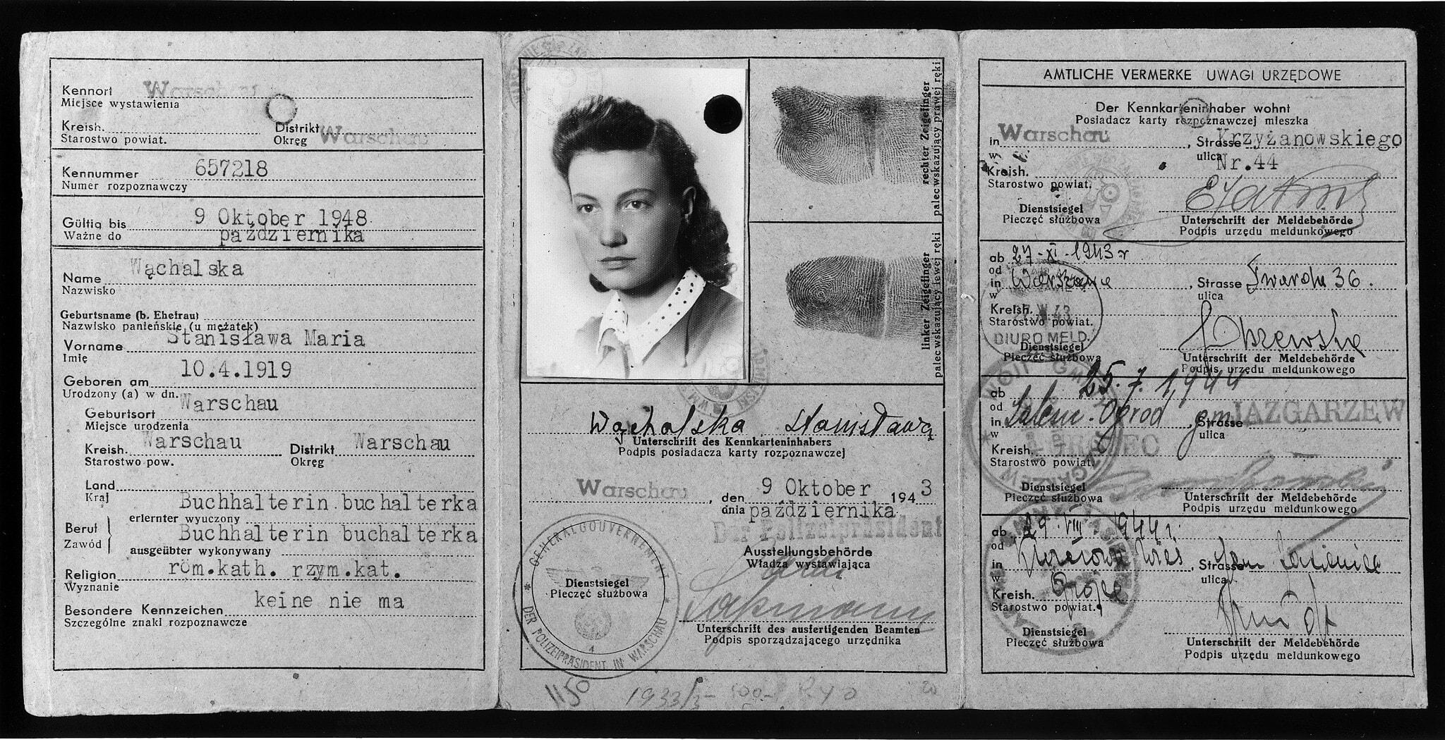 תעודת הזהות המזויפת של ולדקה מיד, 1943 (צילום: United States Holocaust Memorial Museum, courtesy of Benjamin Meed)
