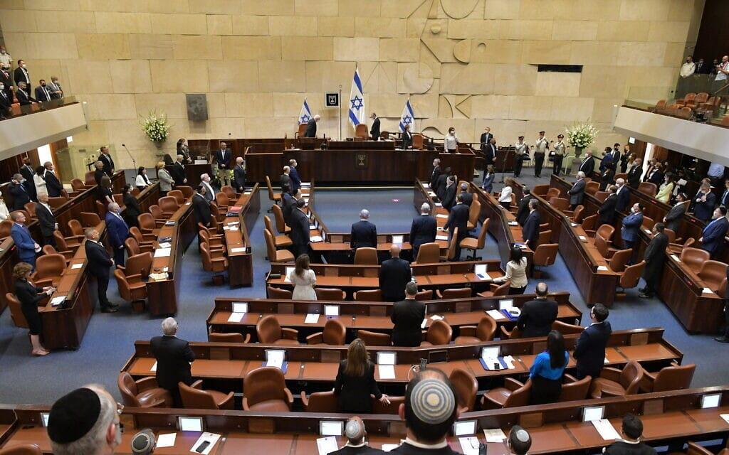 מליאת הכנסת בישיבת הפתיחה של הכנסת ה-24, 6 באפריל 2021 (צילום: דוברות הכנסת, תדמית הפקות)