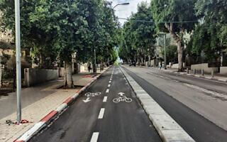 שבילי האופניים החדשים בדיזנגוף, ינואר 2021 (צילום: עמוד הפייסבוק של מיטל להבי)