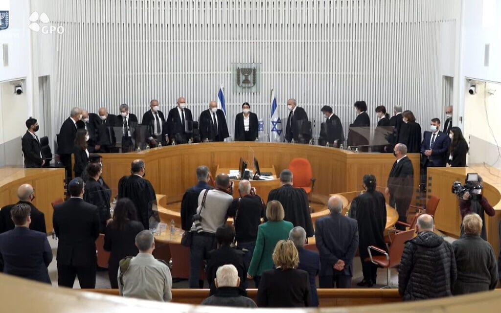 """טקס הפרידה לחנן מלצר בבית המשפט העליון, 12 באפריל 2021 (צילום: צילום מסך, לע""""מ)"""