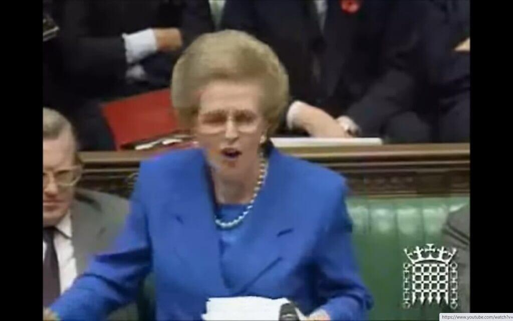 מרגרט תאצ'ר נואמת בפרלמנט ב-1990. צילום מסך