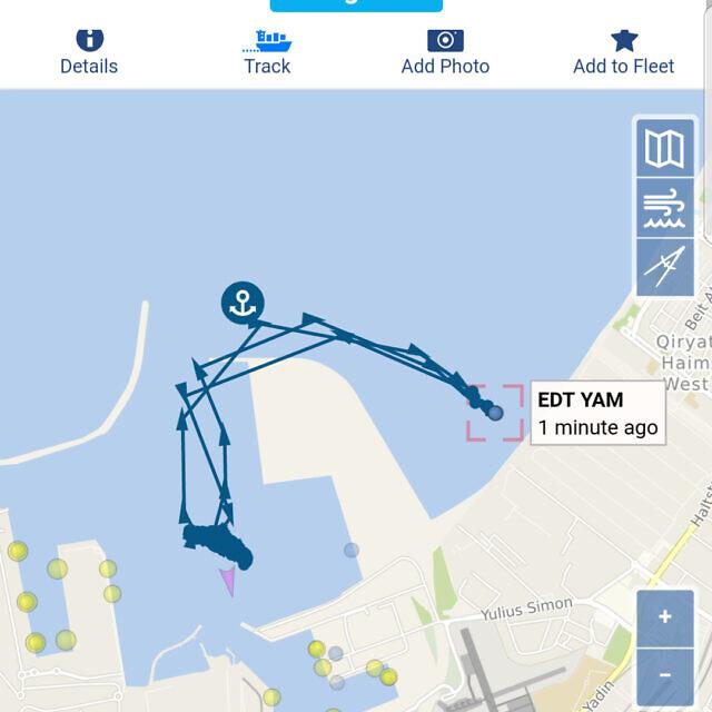 מסלול האונייה edt yam, מנמל המפרץ לחוף קריית חיים, 25 באפריל 2021 (צילום: הפורום הישראלי לשמירה על החופים)