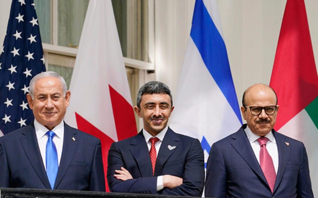 נתניהו ושרי החוץ של בחריין ואיחוד האמירויות – AP (צילום: AP)