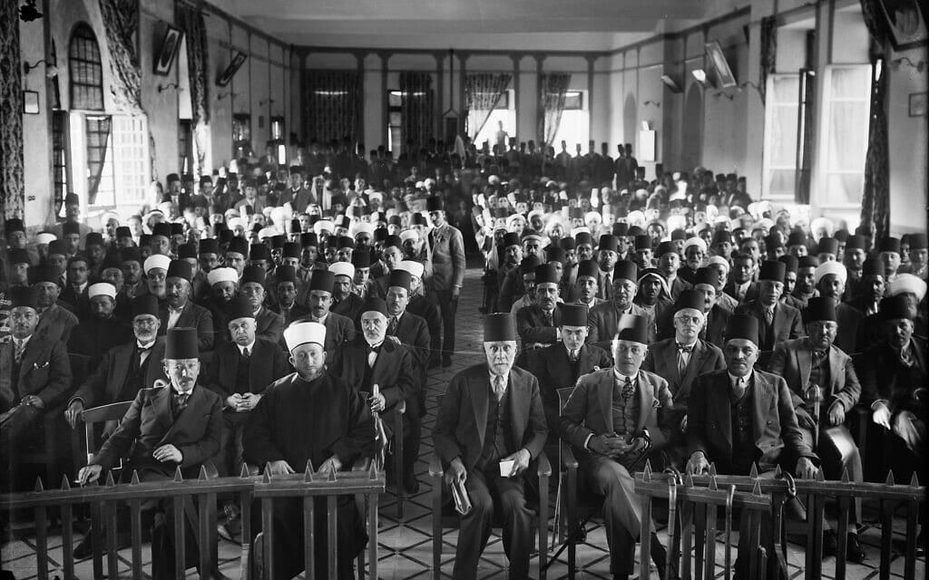 מפגש מחאה של הפלסטינים נגד התיישבות היהודים בפלשתינה תחת שלטון המנדט הבריטי (צילום: באדיבות איאן בלאק)