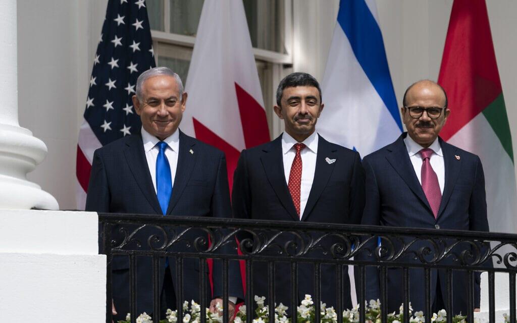 בנימין נתניהו עם שרי החוץ של בחריין ואיחוד האמירויות בוושינגטון, 2021 (צילום: AP Photo/Alex Brandon)