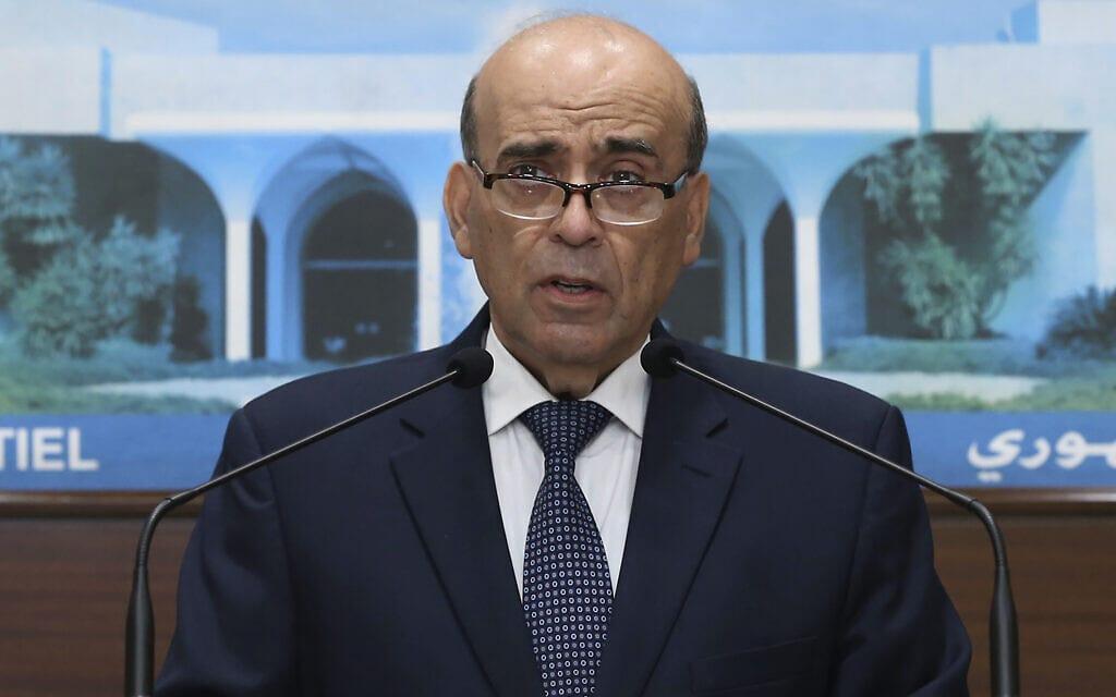 שר החוץ הלבנוני שרבל ווהבה במסיבת עיתונאים, 19 במאי 2021 (צילום: Dalati Nohra via AP)