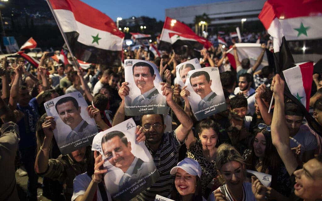 תומכיו של בשאר אל-אסד חוגגים בדמשק, 27 במאי 2021