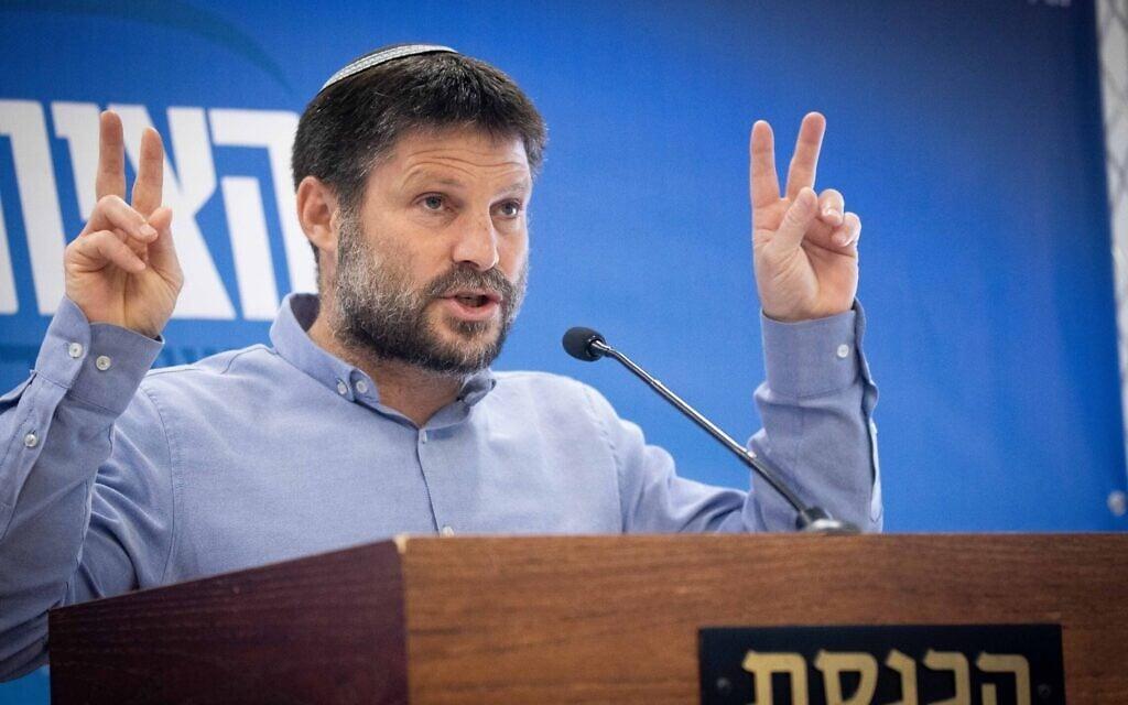 בצלאל סמוטריץ' בישיבת סיעה של הציונות הדתית בכנסת, 26 באפריל 2021 (צילום: יונתן זינדל/פלאש90)