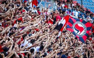יציע האוהדים במשחק המכריע בין הפועל ירושלים וסקציה נס ציונה באצטדיון טדי, 30 באפריל 2021 (צילום: פלאש90)