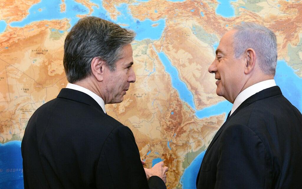 """בנימין נתניהו בפגישה עם שר החוץ האמריקאי אנתוני בלינקן, בלשכת ראש הממשלה בירושלים, 25 במאי 2021 (צילום: חיים צח/לע""""מ)"""