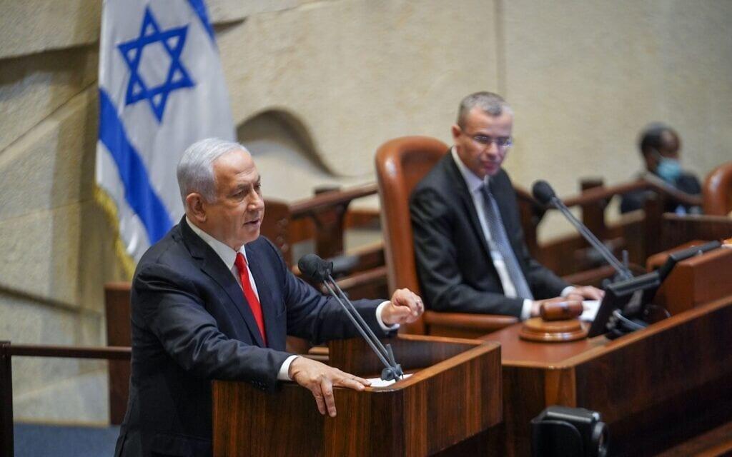 ראש הממשלה בנימין נתניהו בישיבת אבל לזכר האסון במירון, 3 במאי, 2021 (צילום: דוברות הכנסת / נועם מושקוביץ)