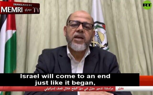 """סגן ראש הלשכה המדינית של חמאס, מוסא אבו מרזוק, בראיון ל""""רוסיה היום"""", 22 במאי 2021 (צילום: צילום מסך)"""