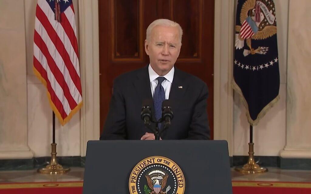 נאום ביידן בבית הלבן לרגל הפסקת האש בין ישראל לחמאס, צילום מסך מ-CNBC Television