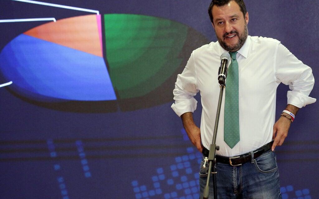 מתאו סלביני, ראש הימין הפופוליסטי באיטליה (צילום: AP Photo/Andrew Medichini)