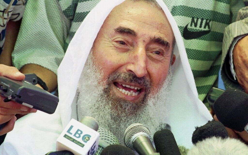 מנהיג חמאס שחוסל, שייח' אחמד יאסין, ב-1998 (צילום: AP Photo/Adel Hana)