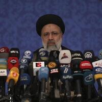 נשיא איראן הנבחר איברהים ראיסי לאחר הבחירות, 26.6.2021 (צילום: AP Photo/Vahid Salemi)