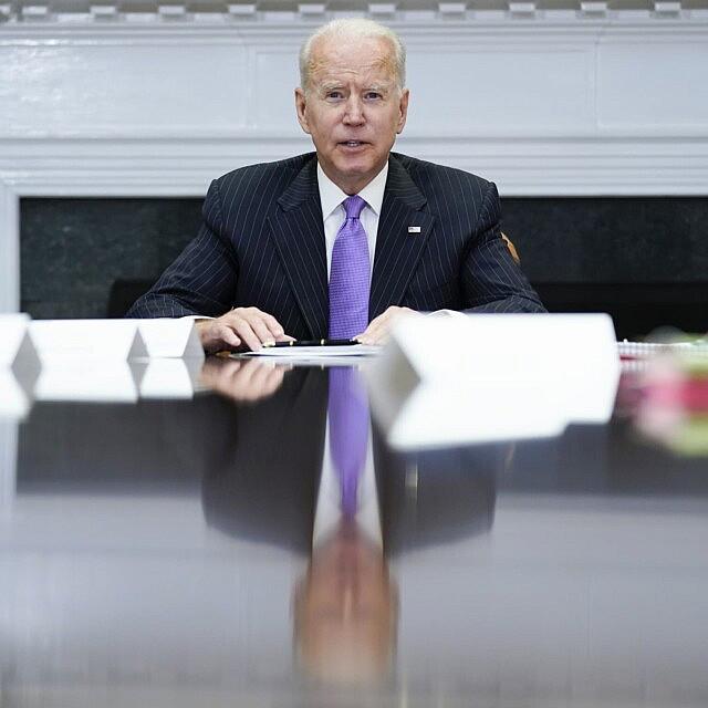 """נשיא ארה""""ב ג'ו ביידן (צילום: AP Photo/Evan Vucci)"""
