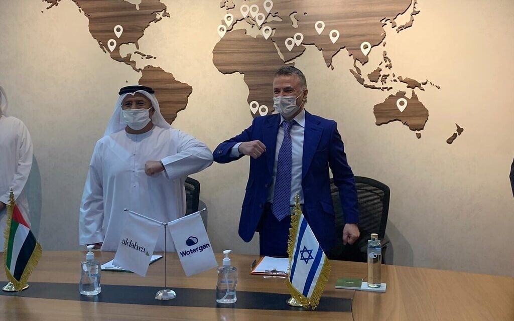"""מנכ""""ל ווטרג'ן מיכאל מירילשווילי ומייסד אל-דהרה באבו דאבי, 25 במאי 2021 (צילום: ווטרג'ן)"""