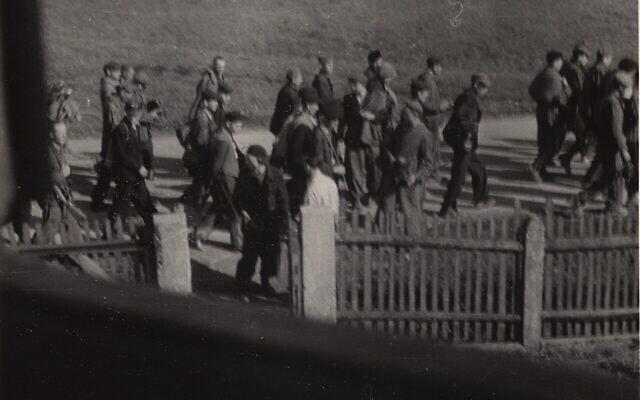 תיעוד חשאי ולא מתוארך של צעדה שכפו הנאצים (צילום: מוזיאון ארצות הברית לזכר השואה)