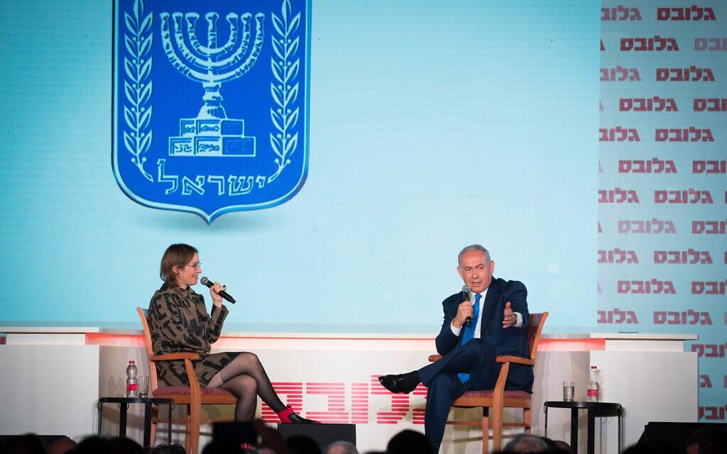 אלונה בר און מראיינת את בנימין נתניהו בוועידת גלובס לעסקים בירושלים, 19 בדצמבר 2018 (צילום: יונתן זינדל/פלאש90)