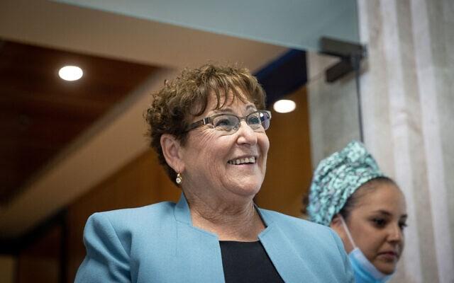 מרים פרץ, המתמודדת לנשיאות המדינה, בכנסת, 1 ביוני 2021 (צילום: יונתן זינדל, פלאש 90)